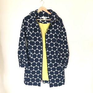 Boden Rainy Day Mac navy polka dot coat size 6